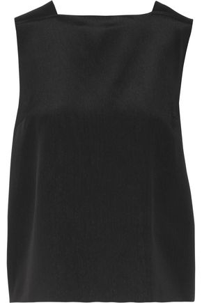 MSGM Cutout crepe de chine top