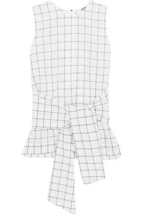 MSGM Knotted checked cotton-blend top