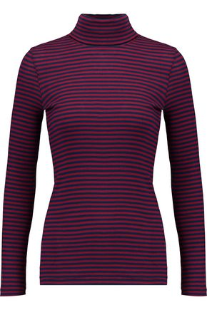 PETIT BATEAU Striped cotton rib-knit turtleneck top
