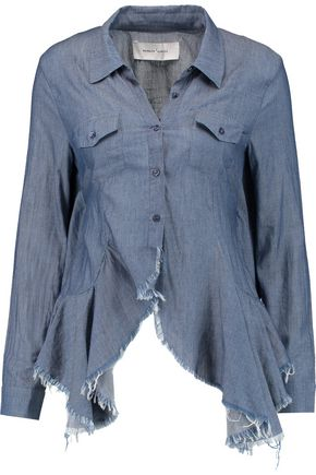 MARQUES' ALMEIDA Open-back ruffled cotton-chambray shirt