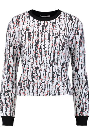 CARVEN Cropped printed stretch-neoprene sweatshirt