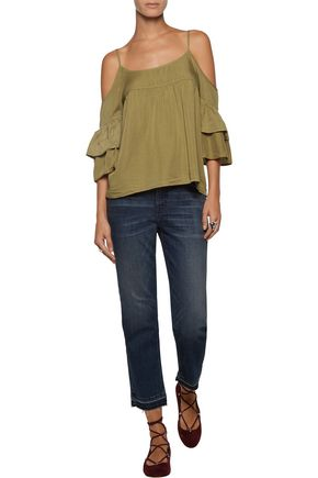 W118 by WALTER BAKER Tara cutout gathered twill top