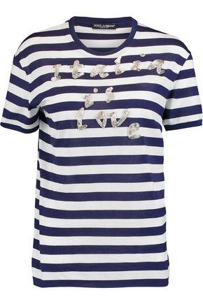 DOLCE & GABBANA Bead-embellished striped cotton-blend jersey T-shirt