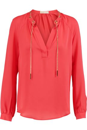 35bb10eae0445 MICHAEL MICHAEL KORS Chain-embellished silk-crepe blouse ...