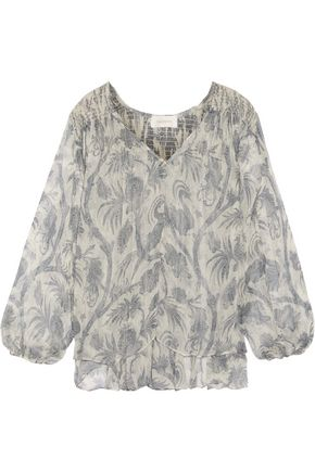 ZIMMERMANN Adorn smocked printed silk-chiffon blouse