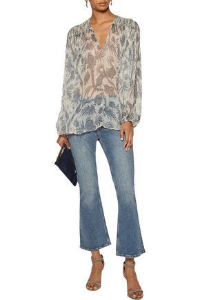ZIMMERMANN Adorn smocked printed silk-chiffon blouse