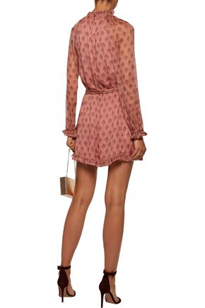 ZIMMERMANN Karmic belted open-back ruffled floral-print silk-georgette playsuit