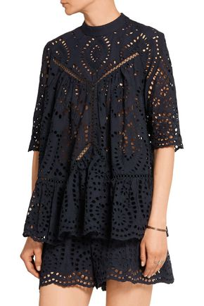 ZIMMERMANN Harlequin broderie anglaise cotton top