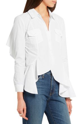 MARQUES ' ALMEIDA Open-back ruffled poplin shirt
