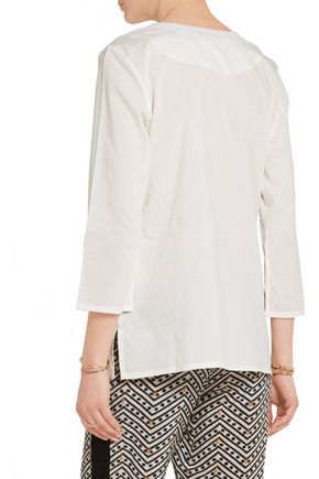 FIGUE Oleanna embellished embroidered cotton-voile blouse