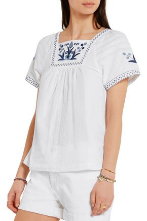 MADEWELL Embroidered cotton-blend blouse