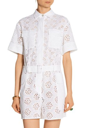 VALENTINO Broderie anglaise cotton-blend playsuit