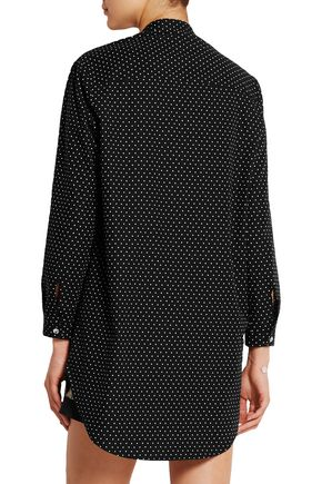 RAPHAËLLA RIBOUD June lace-paneled polka-dot cotton-poplin nightshirt