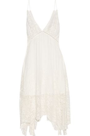 ZIMMERMANN Asymmetric embroidered silk-georgette dress