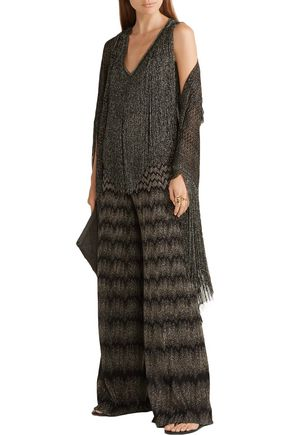 MISSONI Fringed metallic crochet-knit top
