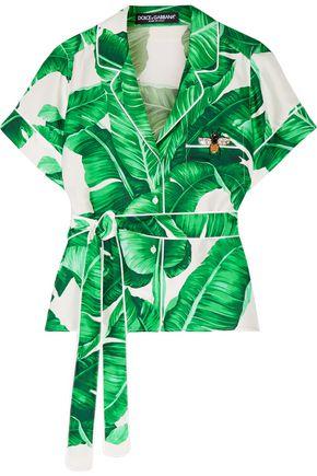 DOLCE & GABBANA Belted embellished printed silk-twill shirt