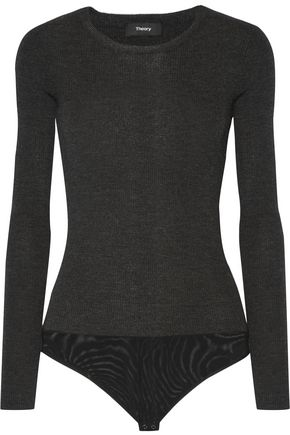 THEORY Ribbed wool-blend bodysuit