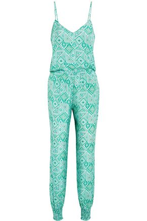 PALOMA BLUE Laguna printed washed-silk jumpsuit