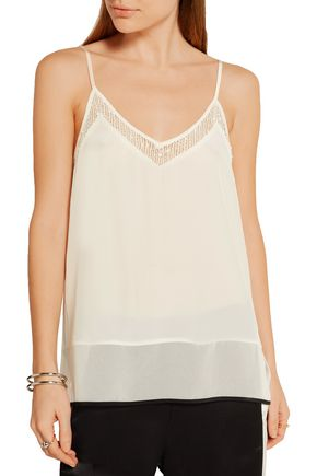 BY MALENE BIRGER Chrisanne mesh-trimmed silk top