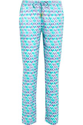 PALOMA BLUE Venice printed silk-satin slim-leg pants