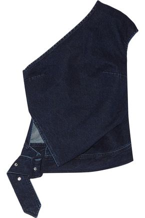 MARQUES' ALMEIDA Belted one-shoulder denim top