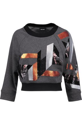 JUST CAVALLI Sequined cotton-blend jersey sweater