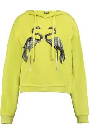 JUST CAVALLI Embellished printed cotton-blend jersey hooded sweater