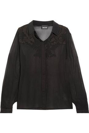JUST CAVALLI Appliquéd silk-chiffon top