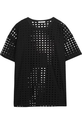 T by ALEXANDER WANG Laser-cut stretch-jersey T-shirt
