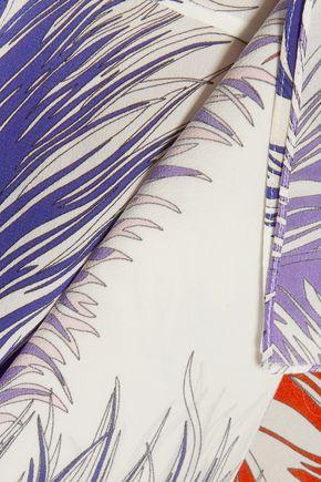 EMILIO PUCCI Ruffled printed silk-crepe top