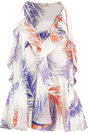 EMILIO PUCCI Ruffled printed silk-crepe top