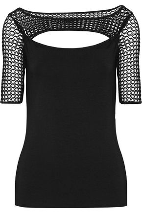 BAILEY 44 Cutout open knit-paneled stretch-jersey top