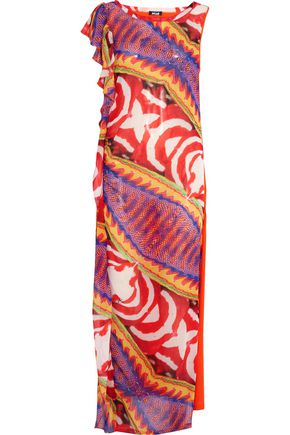 JUST CAVALLI Printed georgette and cotton-jersey coverup