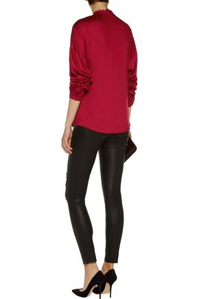 VERSACE JEANS Sequin-embellished stretch-satin wrap blouse