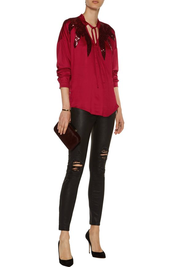 Sequin-embellished stretch-satin wrap blouse | VERSACE JEANS | Sale up to  70% off | THE OUTNET