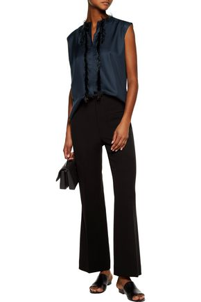 HELMUT LANG Faux feather-embellished silk-twill top