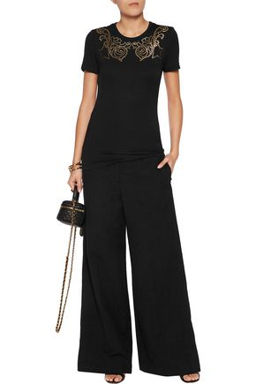 VERSACE COLLECTION Embellished stretch-jersey top
