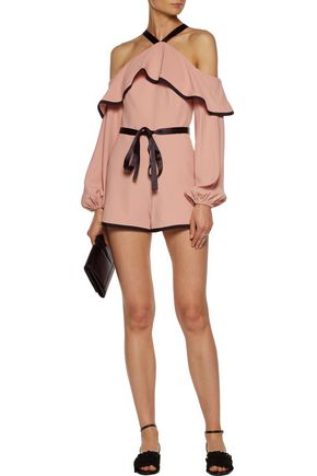 Alexis Suits ALEXIS WOMAN HANSON COLD-SHOULDER RUFFLED CREPE PLAYSUIT BLUSH