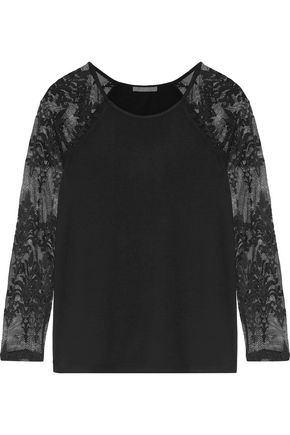 TART COLLECTIONS Caitlin lace-paneled stretch-modal jersey top