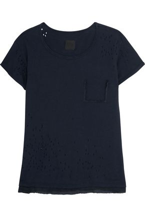 RTA Isabelle paneled cotton and silk T-shirt