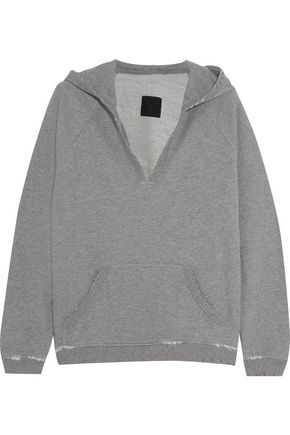 RTA Edith distressed cotton-blend terry hooded sweatshirt
