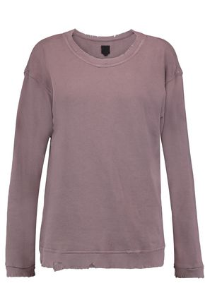 RTA Beal distressed French cotton-terry sweatshirt