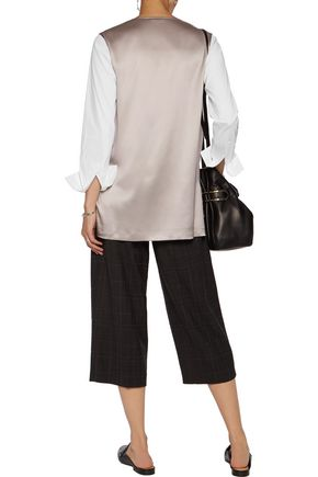BRUNELLO CUCINELLI Poplin-paneled silk-blend satin top