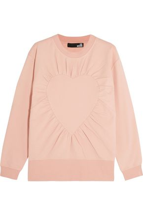 LOVE MOSCHINO Gathered cotton-blend sweatshirt
