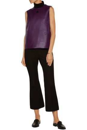RAOUL Wrap-effect leather and crepe top