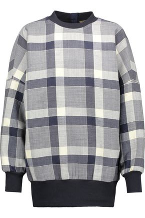 ADAM LIPPES Plaid wool-blend sweatshirt