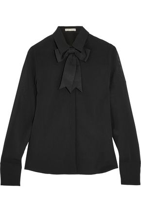 ALICE + OLIVIA Felipa bow-embellished silk-blend chiffon blouse