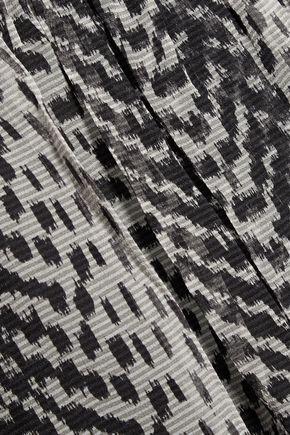 ELIZABETH AND JAMES Ikat cutout printed silk-chiffon blouse