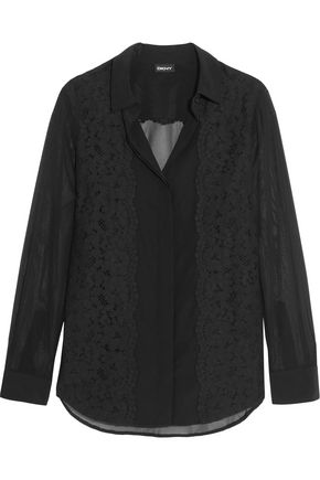 DKNY Guipure lace-paneled sheer silk-blend blouse