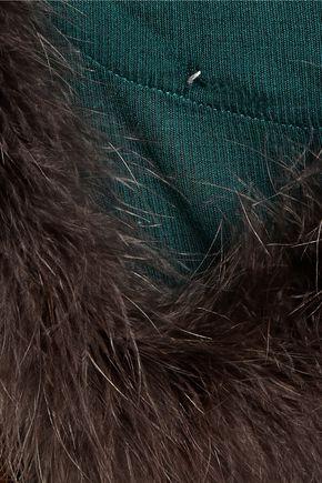 MAISON MARGIELA Feather-embellished ribbed modal and cashmere-blend tank